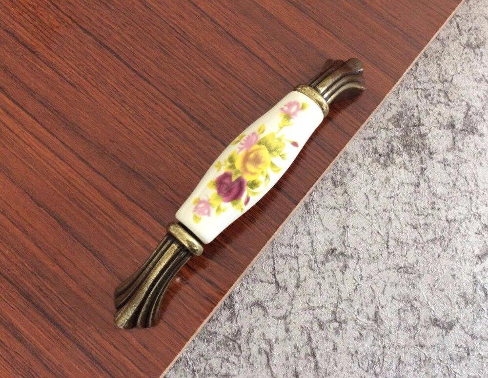 Ceramic Antique Bronze Flower Kitchen Cabinet Door Handle Knobs Porcelain Door Handle Furniture Hardware european modern bronze doors handle chinese antique glass door handle door handle carving