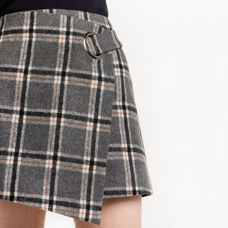 HDY Haoduoyi 2017 Fashion Preppy Style Skirts Women High Waist Female Plaid Mini Skirts Asymmetrical Casual Ladies Skirts 6