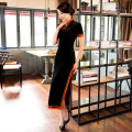 Shanghai Story Velvet Dress Long Cheongsam qipao dress chinese traditional dress Vintage National Trend dresse3 Color