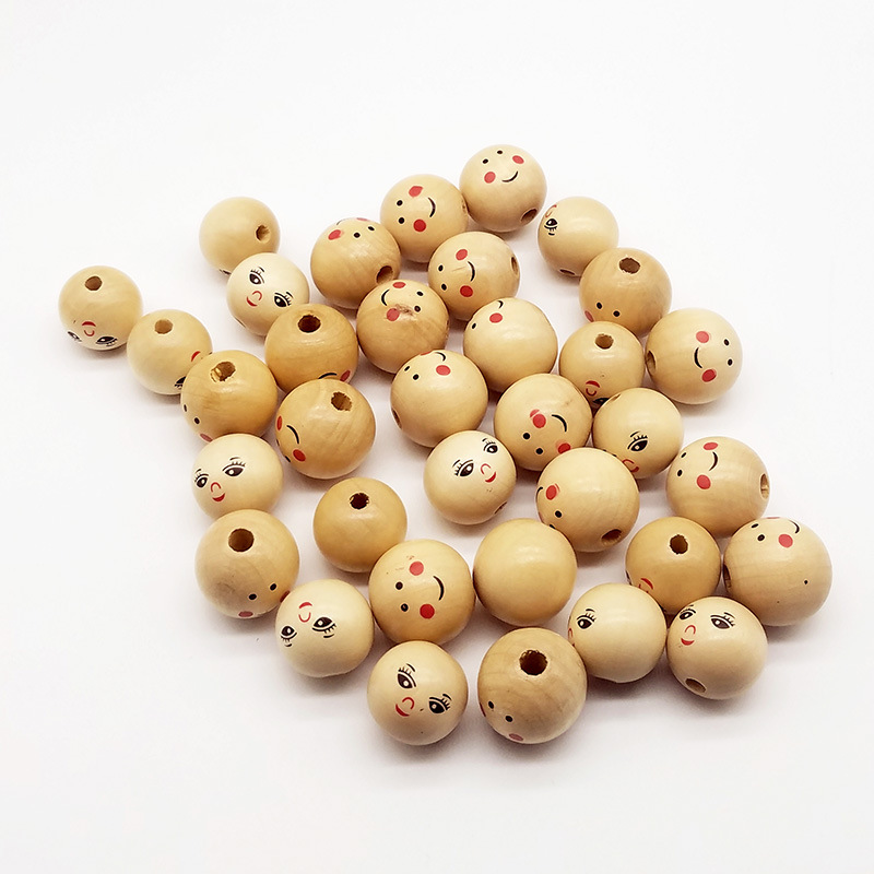 Spacer-Beads Charms Diy Wooden Face Smiley Jewelry-Making Handmade Cute 22 20pcs/Lot
