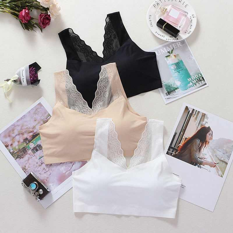 Lace Sexy Beauty Back Sports Underwear Ice Silk Solid Color Wide Shoulder Strap Sports Tube Top