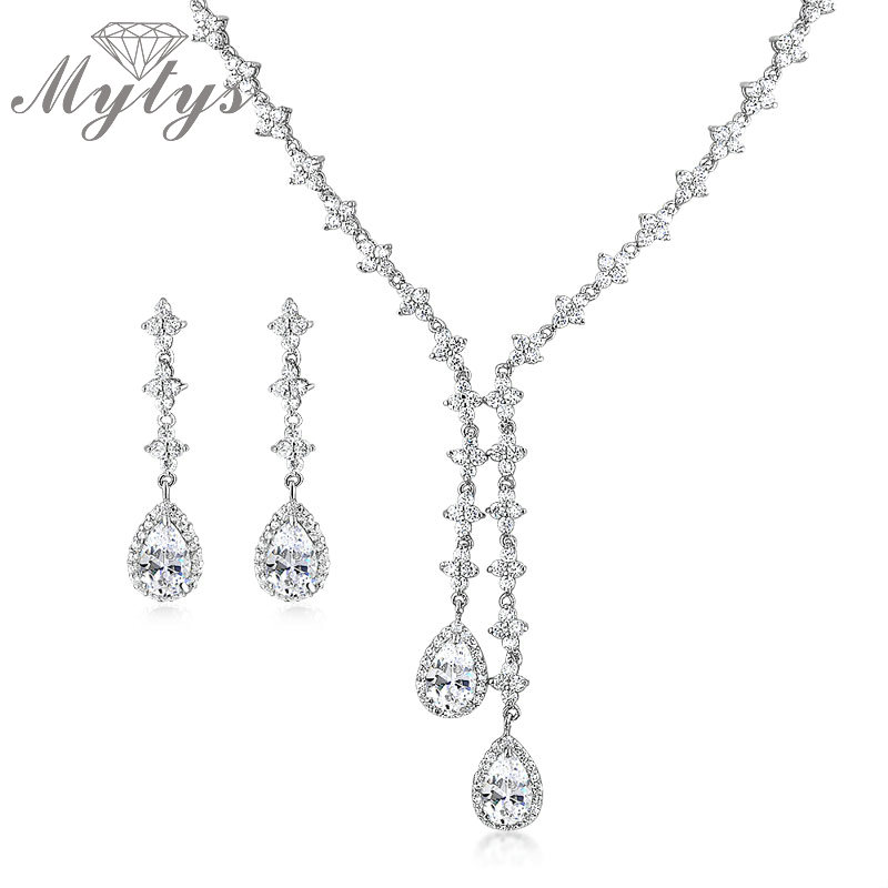 Mytys Pendant Water Drop Crystal Necklace and Drop Earrings A Level Crystal Jewelry Sets for Women Fashion Jewellery N964 a suit of chic faux ruby water drop necklace ring bracelet and earrings for women