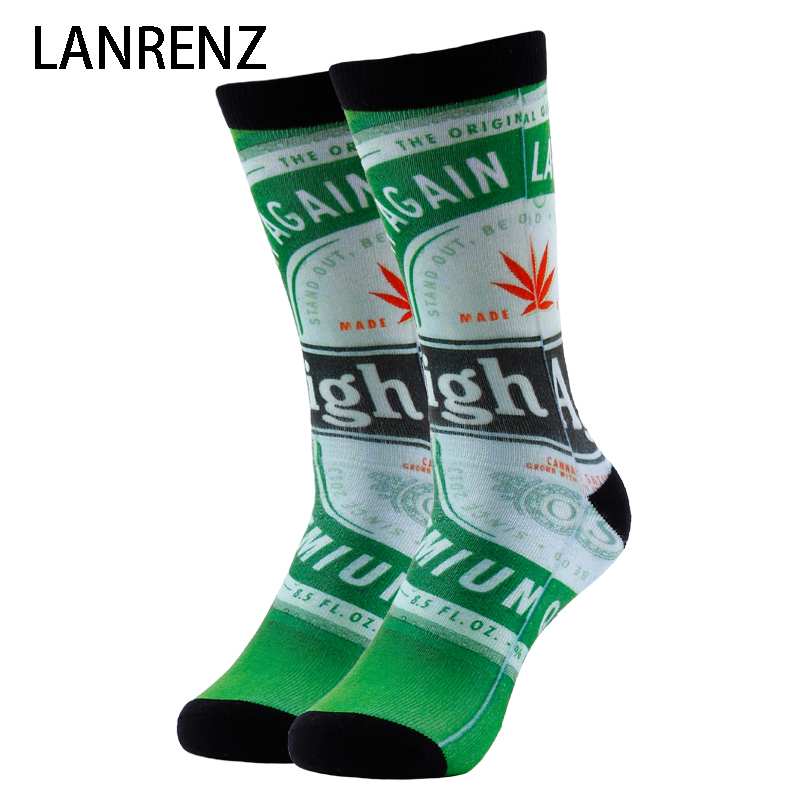 2020 Creative Beer Cans Printing Men And Women Fashion Funny Socks 3d Printed Socks 200 Knitting Oil Painting Compression Socks