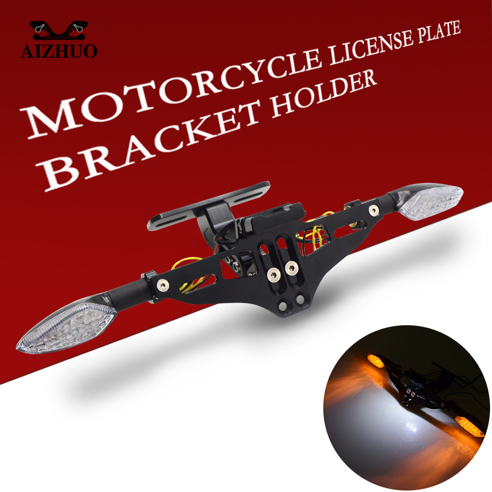 Motorcycle License Plate Bracket Holder Turn signal lights FOR <font><b>ns</b></font> <font><b>200</b></font> 1200gs xsr 700 xt660r gsxr 1000 k8 yamaha fz 6 xtz 125 image