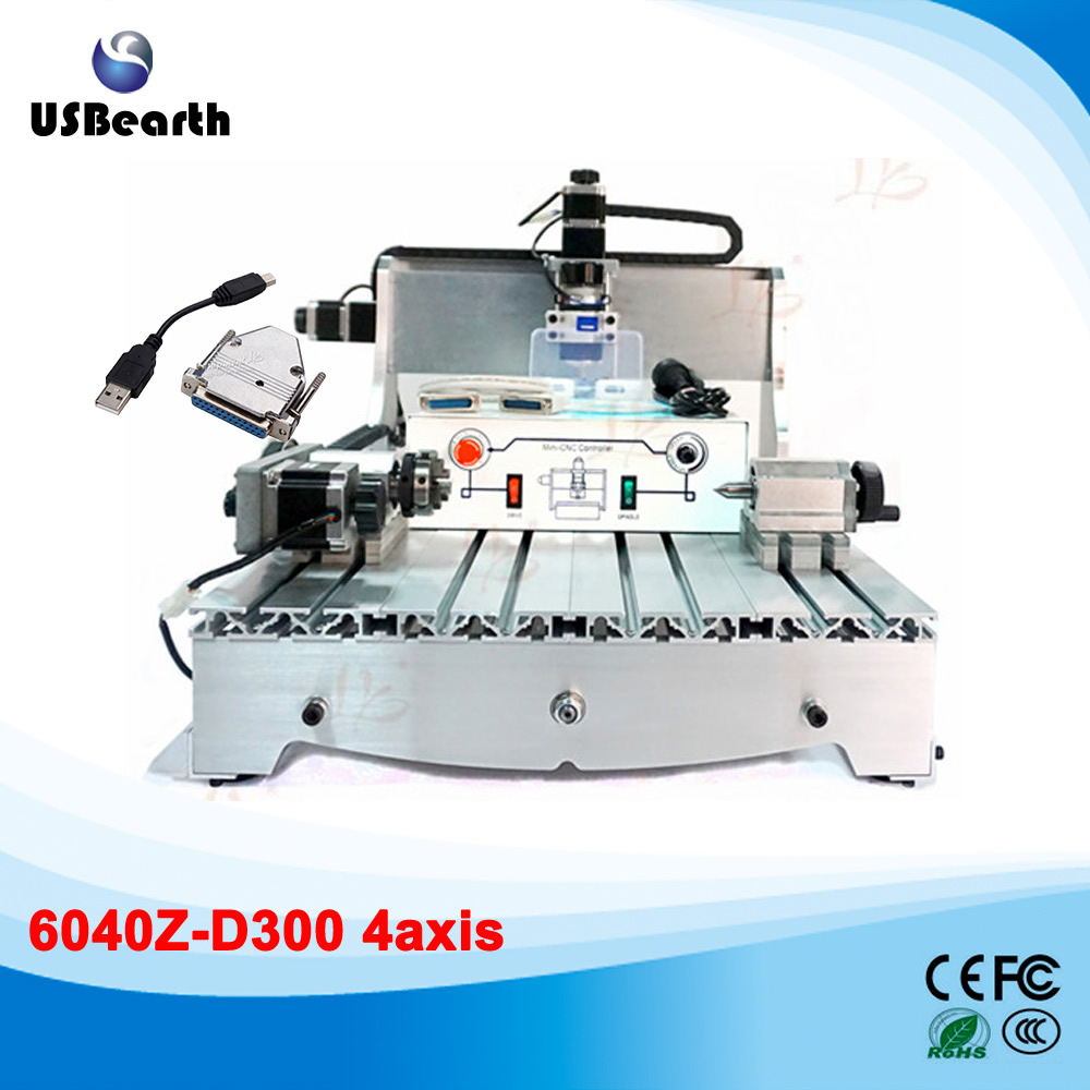 4 Axis CNC Machine 6040Z 300W Spindle Engraving Machine for woodworking 2017 hot sale model 5 axis cnc engraving