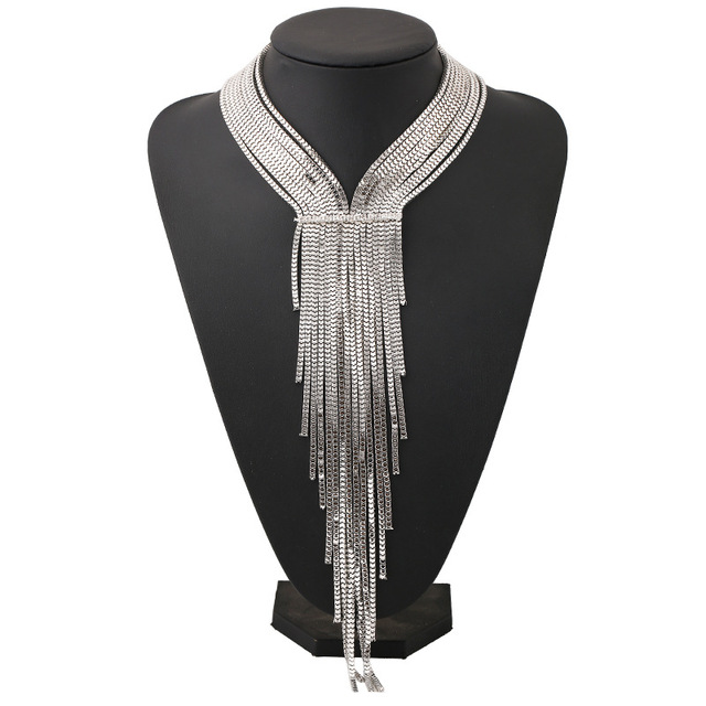 Find me 2017 marca de moda collar de borlas largas maxi crystal choker collar de la vendimia declaración collar joyería de las mujeres al por mayor