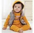 2015 New cotton Toddlers children baby boys girls winter 3pcs clothing set suit Pattern baby hoody jacket + Vest + pants sets