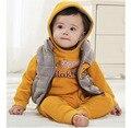 2015 nuevo algodón niños niños niños bebés niñas invierno 3 unids traje de la ropa de patrón bebé hoody jacket + Vest + pants conjuntos