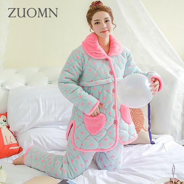 7333d375396b2 Winter Maternity Pajamas Home Nursing Clothes Sets Sleepwear for Pregnant  Women Clothing Breast Feeding Pregnancy Nightgown