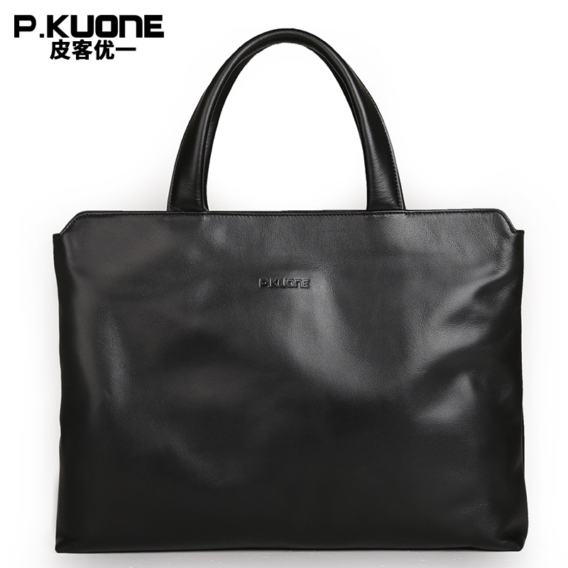 P.KUONE Famous Luxury Brand Men Handbag Genuine Leather Laptop Bag New Fashion Men Briefcase Designer High Quality Shoulder Bag цена 2017