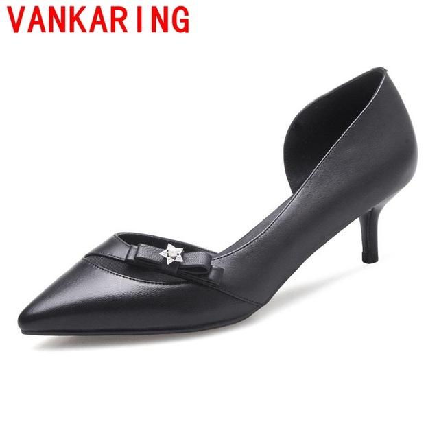 VANKARING sapatos 2017 estilo coreano mulheres sapatos da moda dedo do pé aguçado preto borboleta nó decoração elegante sexy saltos finos sapatos