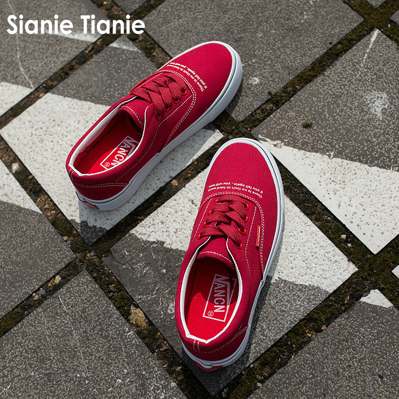Sianie Tianie print cotton canvas shoes red women men casual flats walking shoes lace up low top vulcanized shoes big size 43 44 e lov women casual walking shoes graffiti aries horoscope canvas shoe low top flat oxford shoes for couples lovers