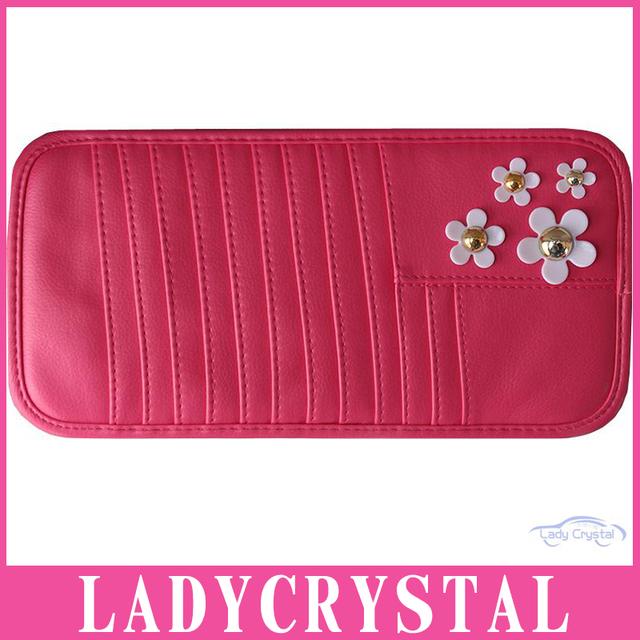 Ladycrystal Moda de Alta Qualidade Do Carro Organizador de CD DVD Cartão Disk Caso Visor Titular Clipper Bag Segure Preto Rosa