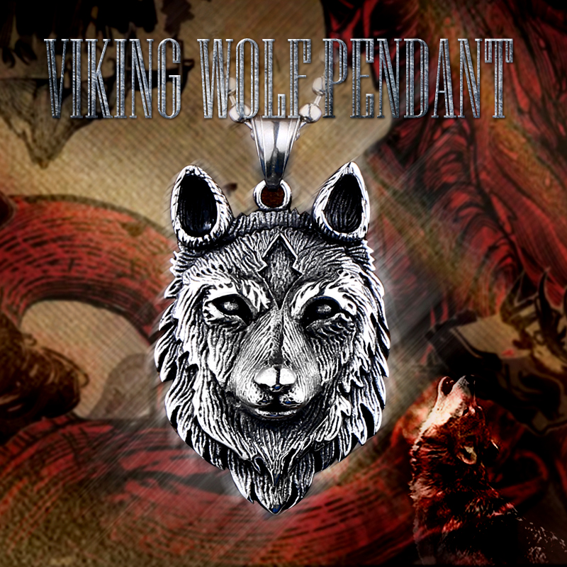 Beier 316L stainless steel Norse Vikings Pendant Necklace Norse Wolf Head Necklace Original Animal Jewelry Wolf Head hange LP352 in Pendant Necklaces from Jewelry Accessories