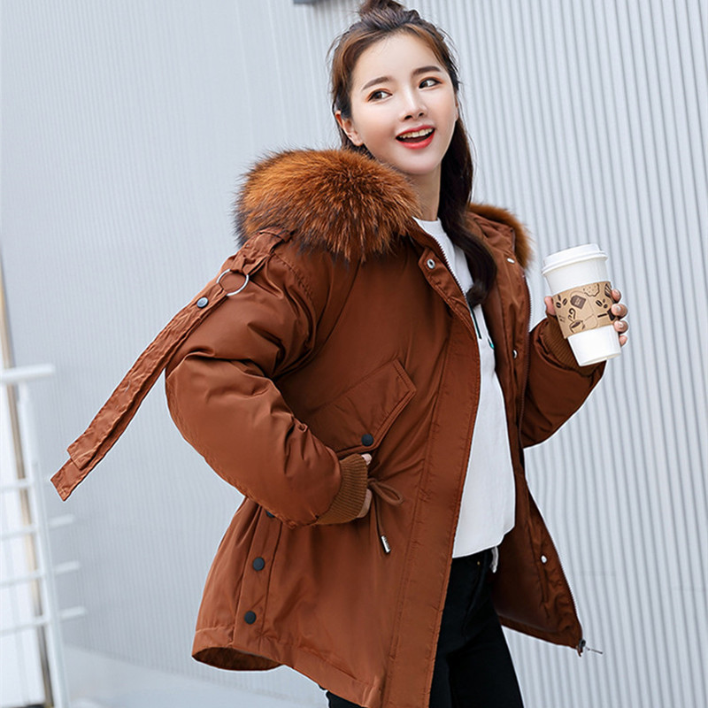 Fashion Big Fur Coat Autumn Winter Jacket Women Warm Hooded Loose Cotton Padded Jacket Coat Female Thick Down   Parkas   Outwear
