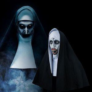 Máscara de monja de cara de terror de Halloween, máscara de peluca, artículos decorativos para fiestas, cara + paño blanco + conjunto de 3 uds de tela negra