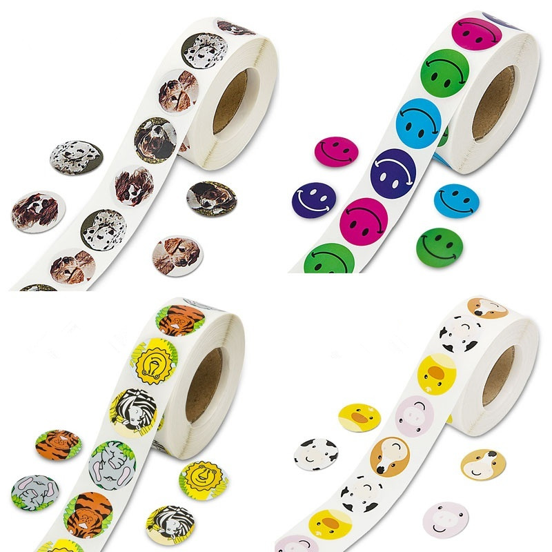 500 PCS roll Children 39 s and Smile Face Cartoon stickers holiday birthday decoration Smiley Emojis Teacher Kids Party Favors in Party DIY Decorations from Home amp Garden