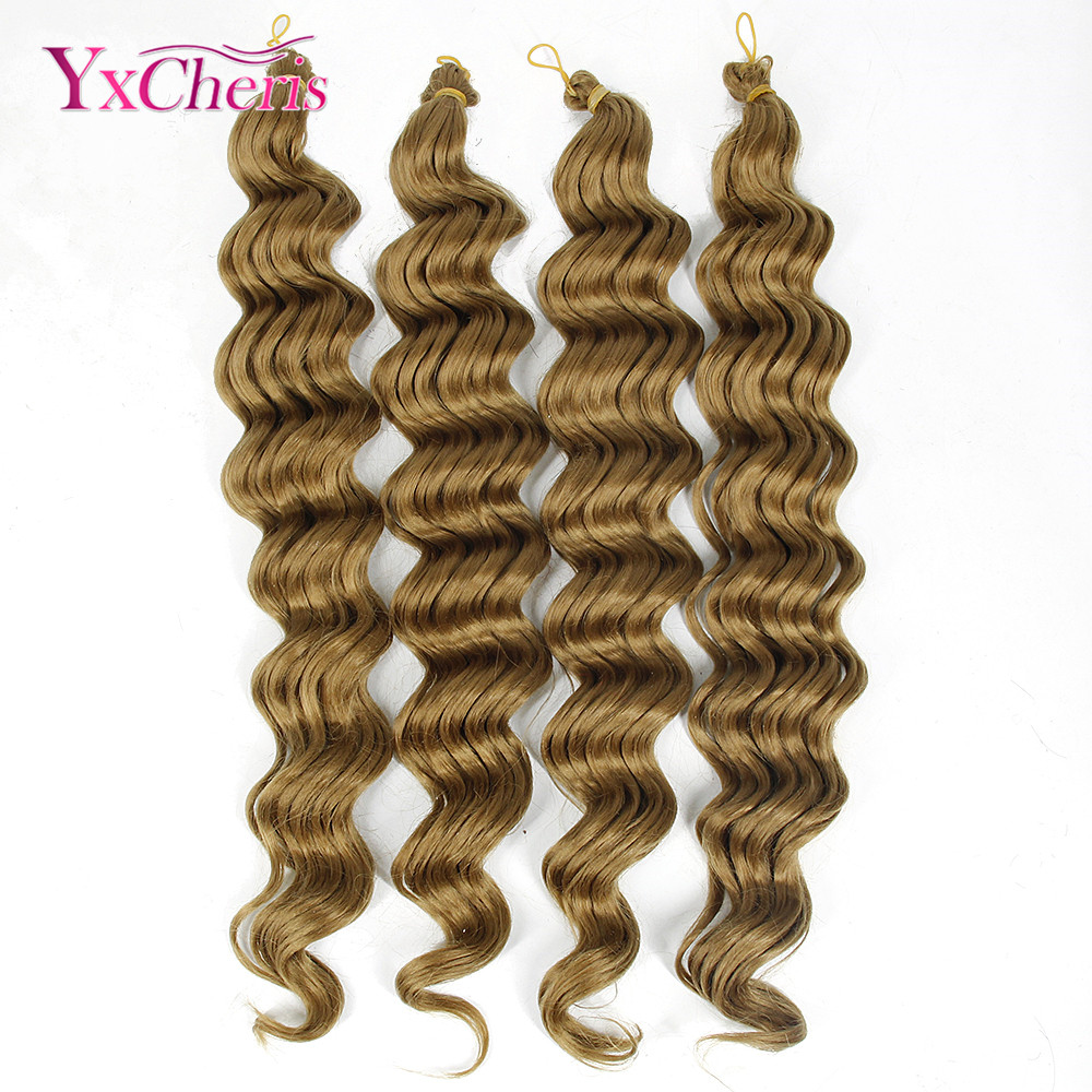 YXCHERISHAIR Crochet Braids Synthetic Braiding Hair Long Deep Curly Wave Crochet Hair Extension Ocean Wave Braid