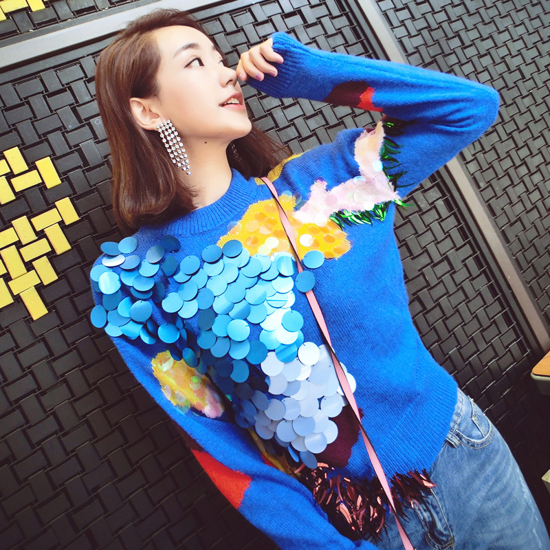 2018 Fashion Heavy Industry Sequined Long Sleeve Round Collar Blue Pullovers For Women Loose Casual Knit Women's Top-wear