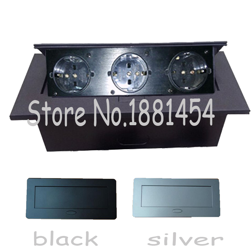 3*EU power ,silver/black ,Thin edge fillet panel / Thick edge right angle panel,for meeting room/furniture socket