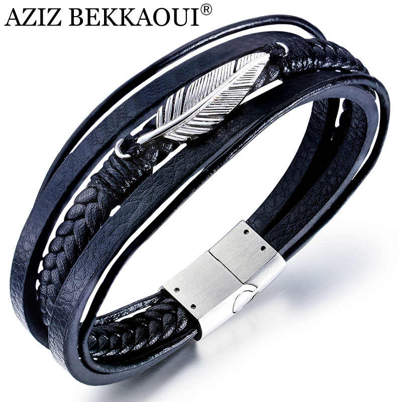 AZIZ BEKKAOUI Multilayer Feather Leather Bracelet for Men Black Punk Cowhide Stainless Steel Bracelets Jewelry Gift Dropshipping