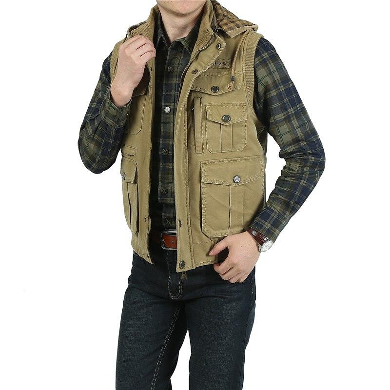 2018 Hiver Hommes Épais Gilet Avec Capuche Casual 100% Coton de Gilet, Plus Grande Taille 9XL Bonne Qualité Sans Manches Vestes