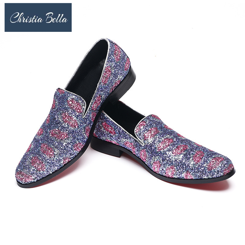 Christia Bella Colorful Glitter Men Loafers Smoking Slipper Casual Shoes Wedding Dress Mens Flats Plus Size Summer Slippers ...