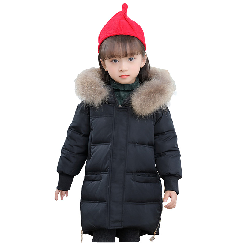 Girls Down Jacket Duck Down Winter Thicken Natural Fur Collar Hooded Children Down Coats Girls Outerwear Coats 2-7Y DQ671 winter down jacket for girls kids clothes children thicken coats duck down jackets girls hooded bow snowsuits natural fur coat