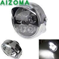 Motorcycle Universal Chrome 12V Head Light 7 Round LED Streetfighter Indicator Light For Custom Chopper Vision Headlamp