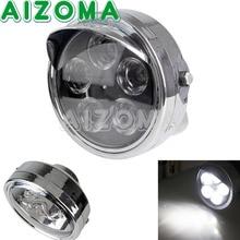 """Motocicleta Universal Chrome 12 v Head Light 7 """"Round LED Luz Indicadora Para Custom Chopper Visão Streetfighter Farol"""