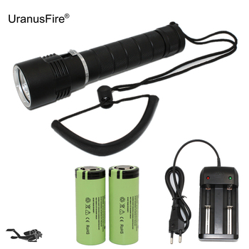 White Yellow Light Underwater Flashlight 3 LED L2/T6 Diving Flashlight Kits Waterproof Hunting Lamp + 26650 Battery + Charger