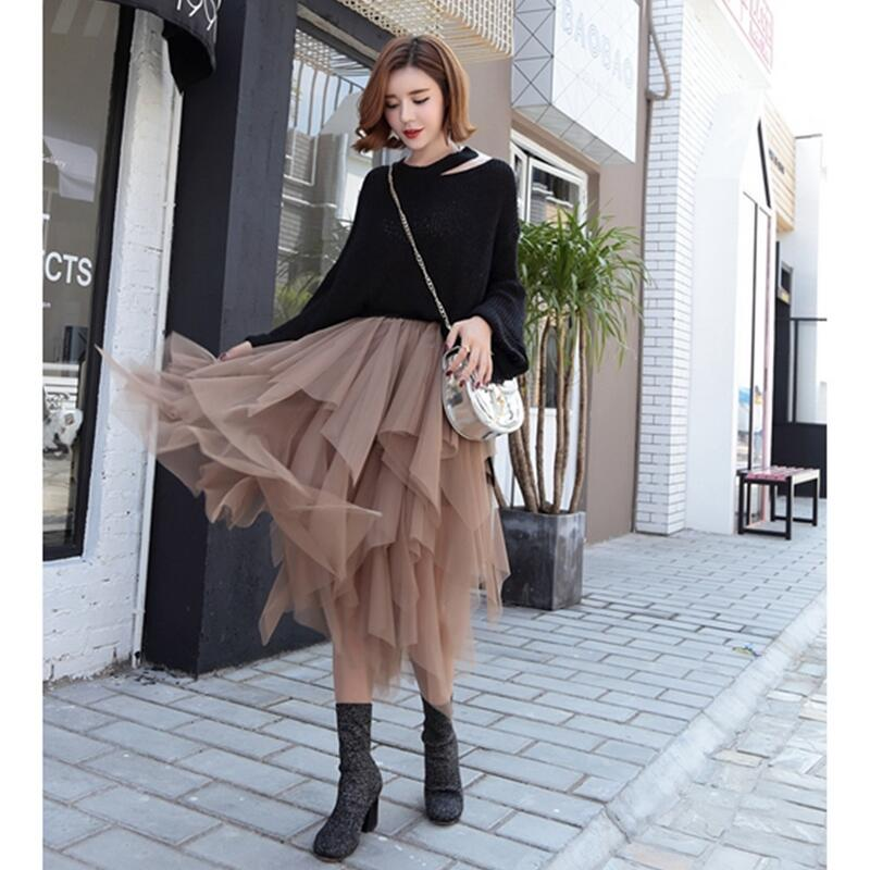Fashion Elastic High Waist Long Tulle Skirt Women Irregular Hem Mesh Tutu Skirt 2019 Spring Party Skirt Ladies faldas detul