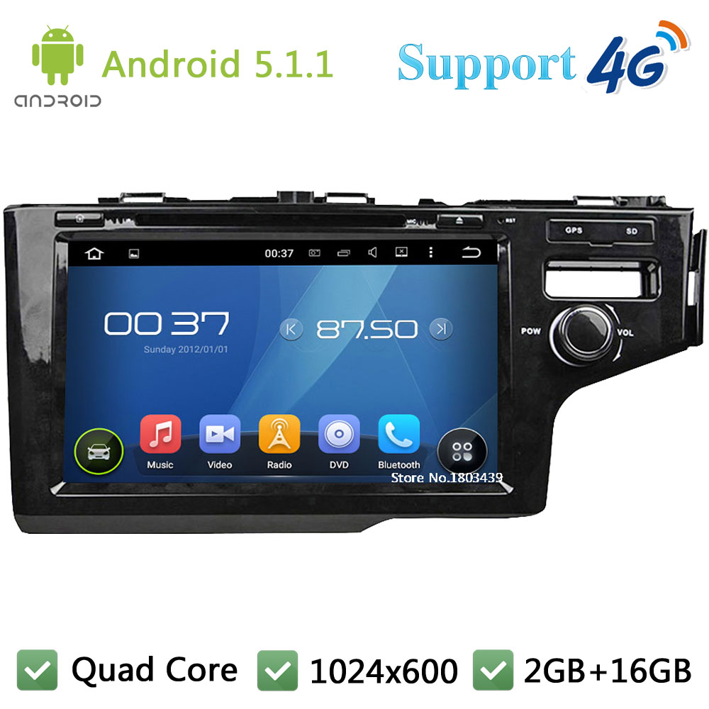 Quad Core 9″ HD 1024*600 Android 5.1.1 Car DVD Player Radio Screen DAB+ 3G/4G WIFI GPS Map For Honda FIT Right Hand Driving 2014