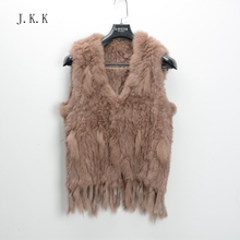 S1022  New Real Natural Rabbit Fur Knitted Vest Women Autumn Winter Warm Gilet Retail/Wholesale Free shipping