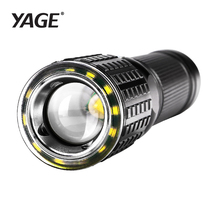 YAGE 341C T6 2000LM Aluminum Zoom CREE LED Flashlight Two LED Lamp 6-Modes USB Torch Light for 1*18650 or 4*AAA/1*26650 Battery