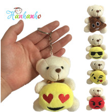 Wholesale 8pcs/Lot Mini Plush Bear With Emoji Key Chain Emoticon Small Pendant Stuffed Animal Gift Party Supplies