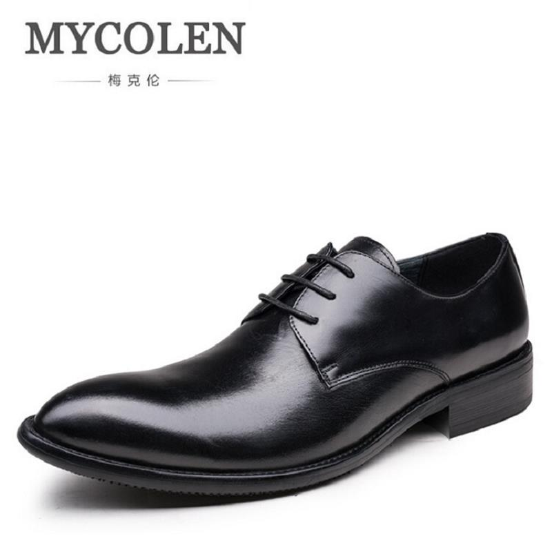 MYCOLEN Man Flat Designer Classic Men Dress Shoes Genuine Leather Black Brown Italian Formal Oxfords for Wedding Erkek Ayakkabi good quality men genuine leather shoes lace up men s oxfords flats wedding black brown formal shoes