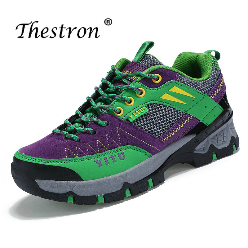 2019 Men Outdoor Mountain Walking Shoes Cushioned Hiking Trainers for Women Lace Up Sport Shoes Men Women Non Slip Outdoor Shoes in Hiking Shoes from Sports Entertainment