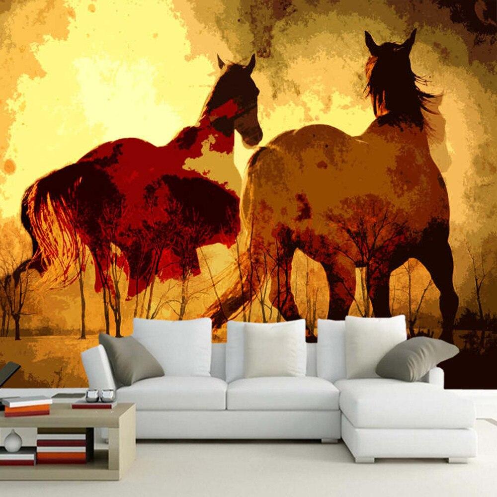 Papel de parede deux chevaux de course peinture à l'huile 3d papier peint mural, salon canapé TV mur chambre papier peint décor à la maison