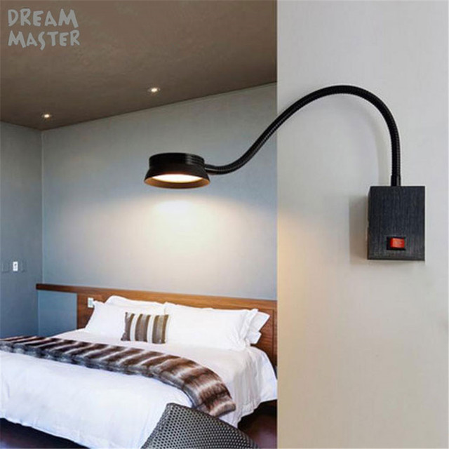 2018 New 1w 3w 5w Led Hoses Wall Lights Flexible Home Hotel Bedside Reading Lamp Modern Switch Book Aluminum Sconces