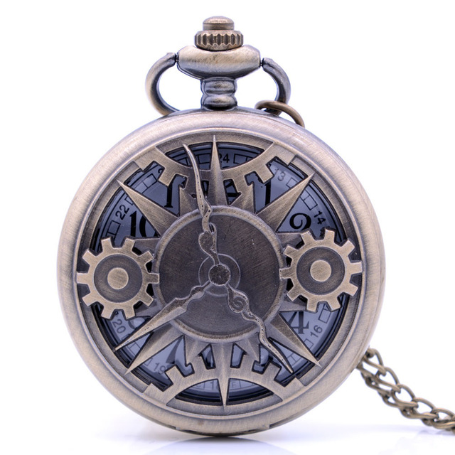 Dropshipping Steampunk Vintage Antique Pointer Gear Mens Male Gifts Quartz Pocke