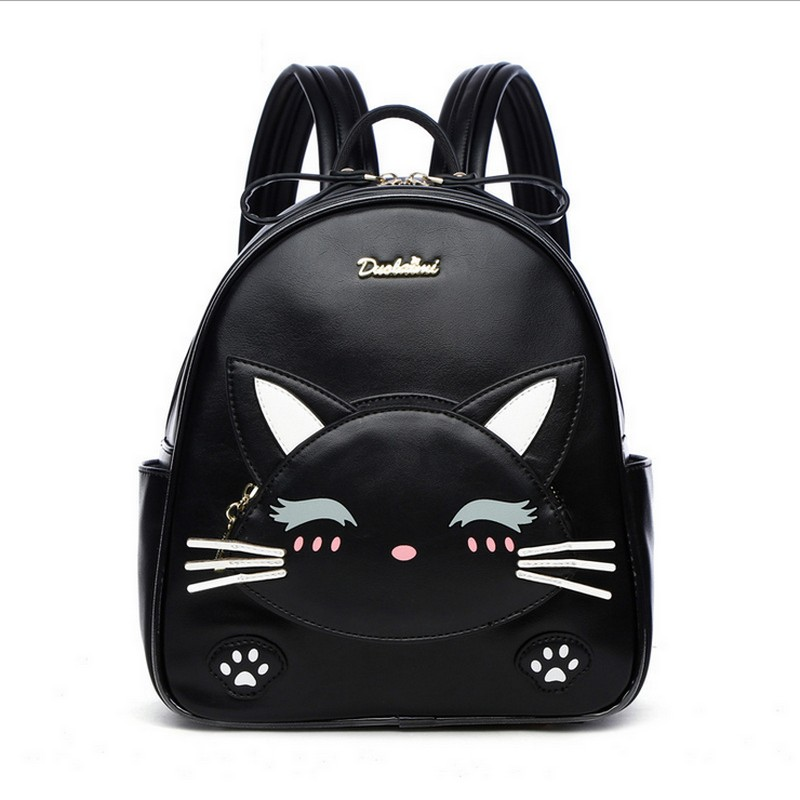 Lovely Cat PU Leather Backpack Women Backpack School Bags For Teenage Girls Travel Bags