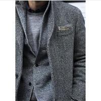 Tailored Made Grey Herringbone Mens suit British style Wool tweed tuxedos slim fit Blazer wedding suits for men(suit+pant)