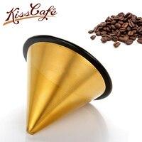 Золотой многоразовый держатель фильтра для кофе из нержавеющей стали капельные фильтры для кофе воронка металлический сетчатый фильтр для...