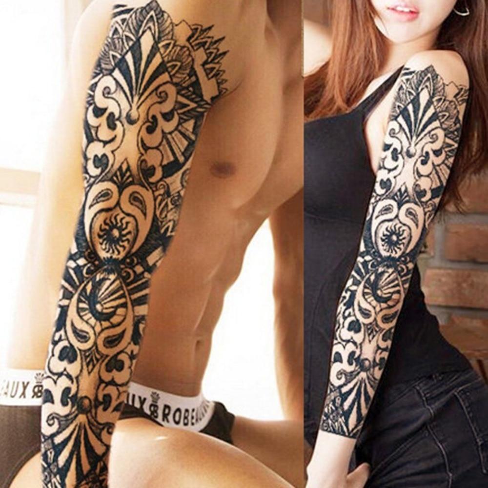 цена на 1PCS Full Arm Flower Tattoo Sticker Waterproof Temporary Tattoo Sleeve Men Women Body Paint Water Transfer Fake Tatoo Sleeve