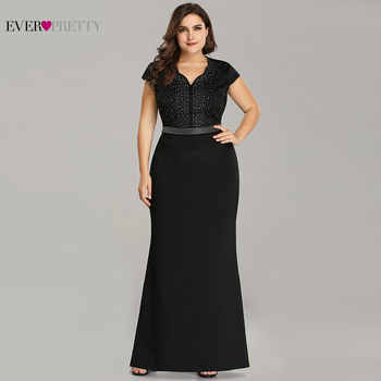 Plus Size Black Evening Gowns Ever Pretty EZ07623 2019 Elegant Mermaid Sparkle V Neck Beaded Long Formal Gowns For Wedding Party - DISCOUNT ITEM  35% OFF All Category