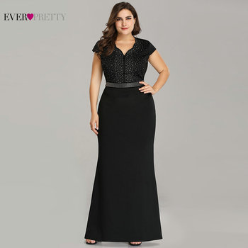 Plus Size Black Evening Gowns Ever Pretty EZ07623 2020 Elegant Mermaid Sparkle V Neck Beaded Long Formal For Wedding Party - discount item  35% OFF Special Occasion Dresses