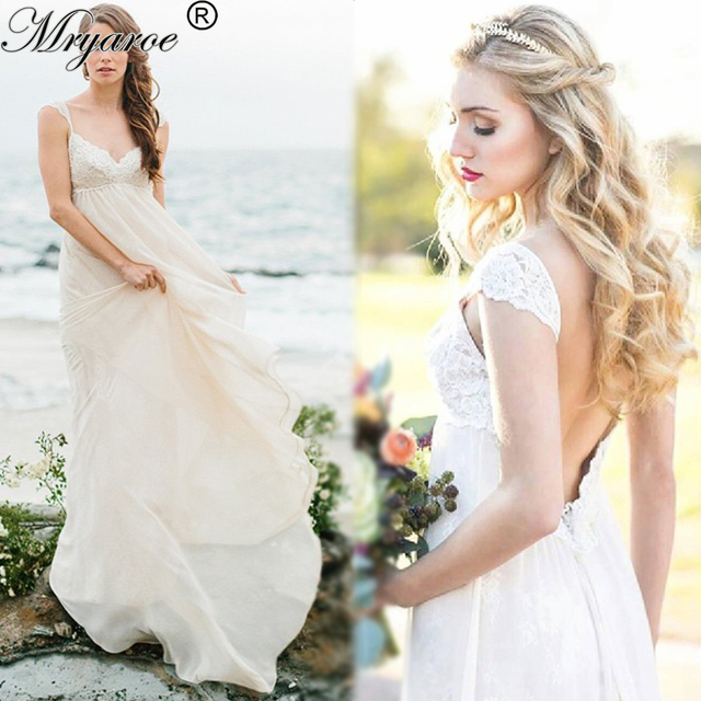 Mryarce Y Beach Wedding Dresses Lace Chiffon Backless Boho Bridal Gowns Empire Waist Maternity Dress