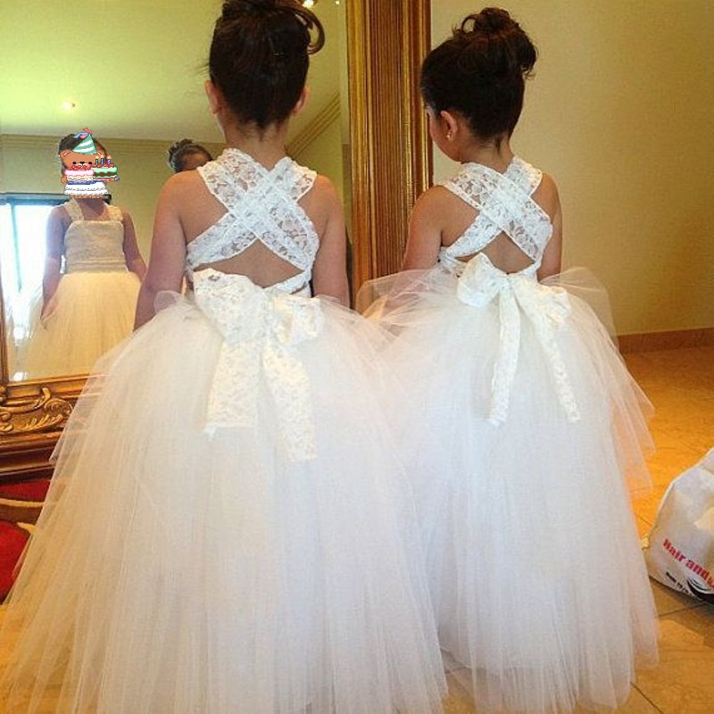 vestido infantil festa Communion   Dresses   For   Girl   Ivory vestido daminha Lace   Flower     Girl     Dress   Applique   Girls   Party Gowns