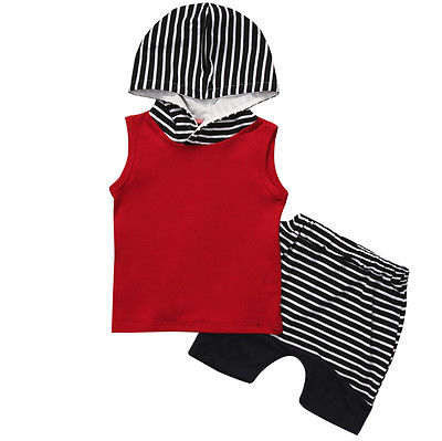Summer Baby Boy Sleeveless T-shirt Vest Hooded Top + Striped Pants 2pcs Outfit Toddler Hooded Clothes